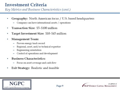 AgendaCompany OverviewInvestment CriteriaPortfolio HighlightsPartnering with NGPCNGPCNGP Capital ...