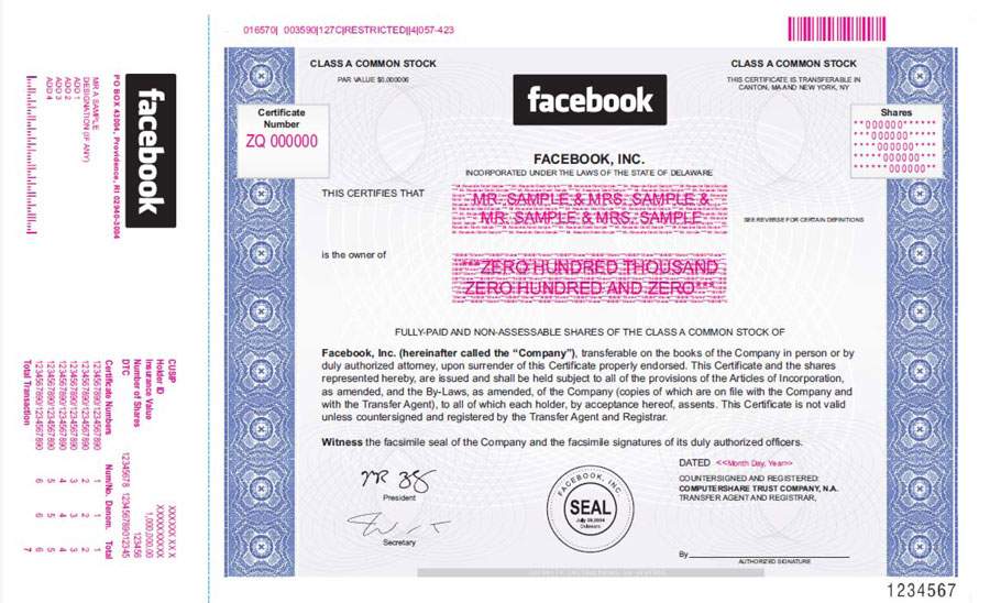 Facebook Stock Certificate This Is What A Real Share Looks Like - Company Share Certificates