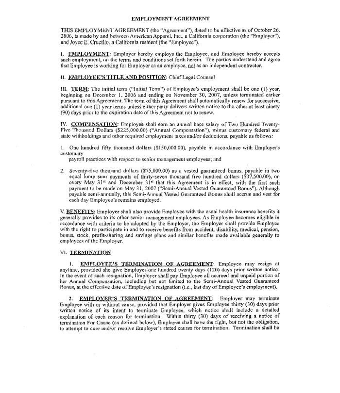 Employment Termination Agreement Colbro