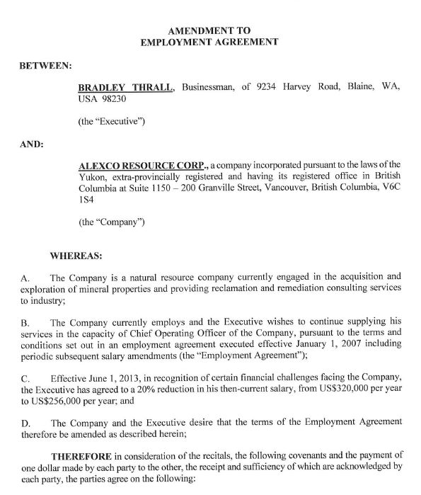 Alexco Resource Corp Exhibit 413 - Filed by newsfilecorp - executive employment contract
