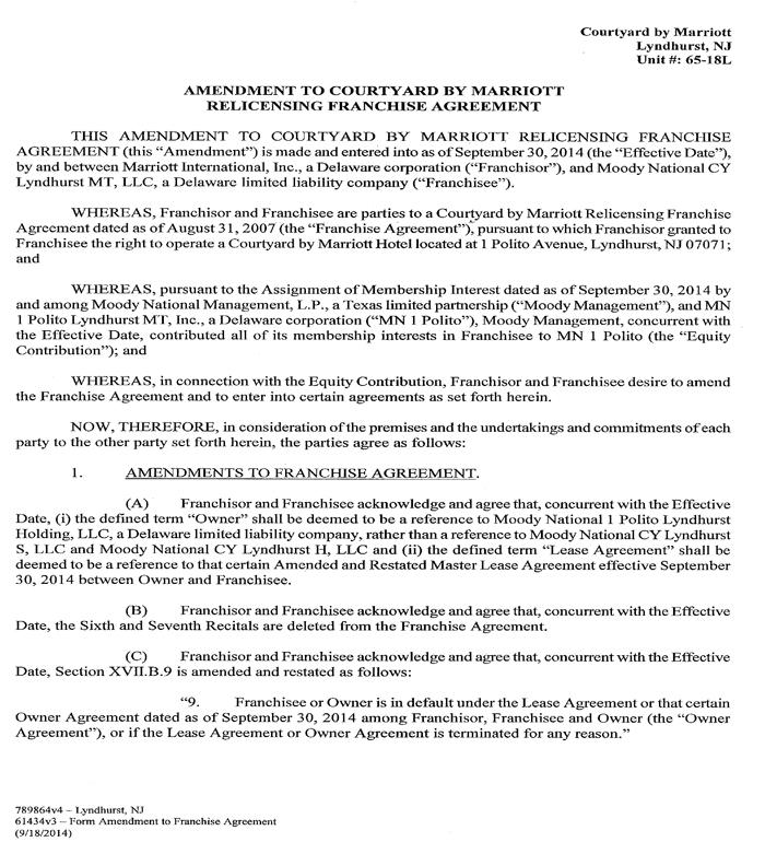 Courtyard by Marriott Lyndhurst, NJ Unit # 65 18l AMENDMENT TO - franchise agreement form