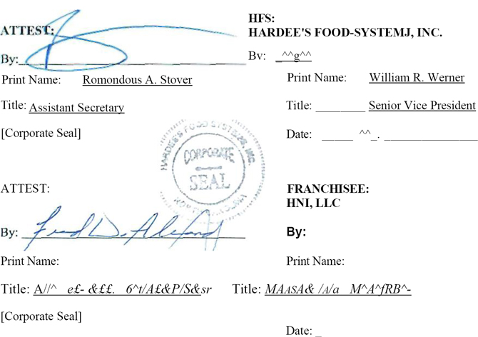 Hardee\u0027s Restaurant Franchise Agreement Hnlllc Hardee\u0027s Food Systems