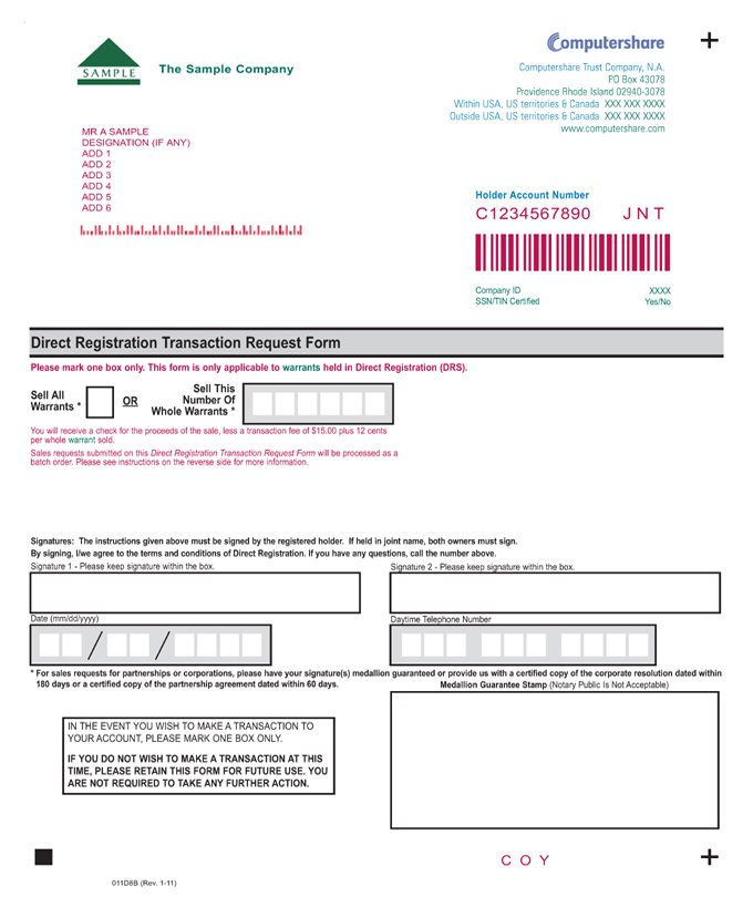Form of Warrant Agreement - corporate resolution form