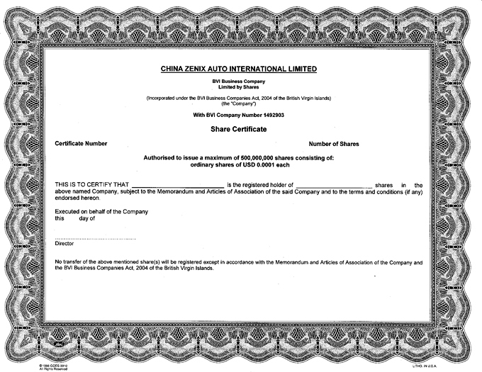 Registrant\u0027s Specimen Certificate for Ordinary Shares - Company Share Certificates