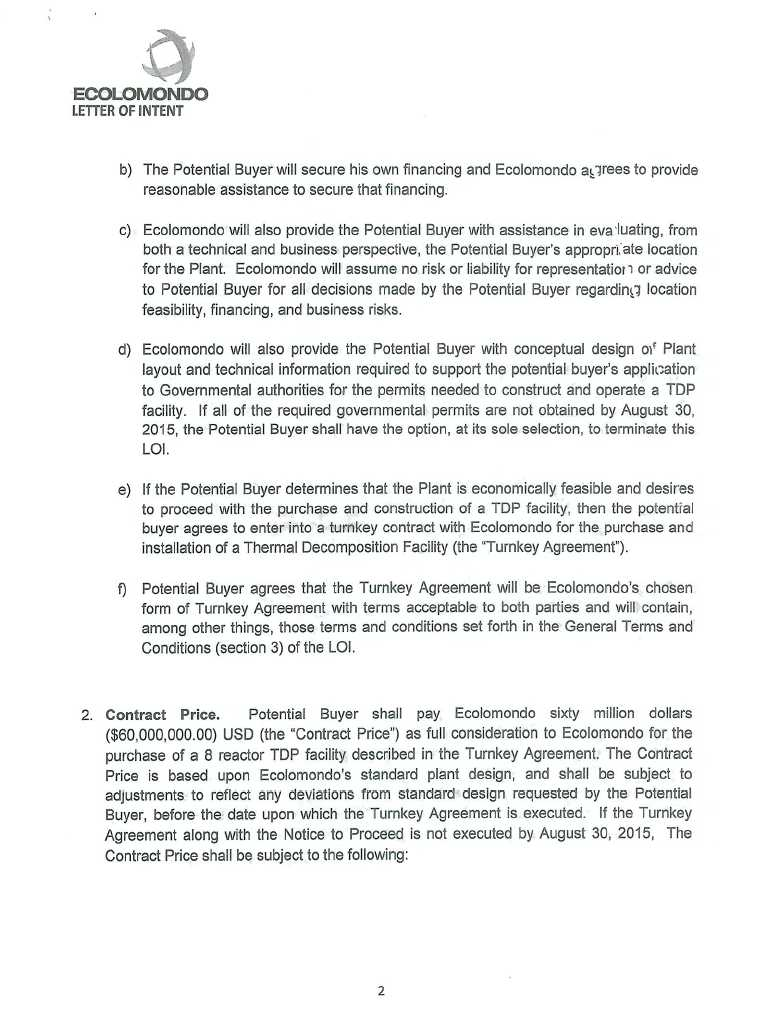 Addendum to a Letter of Intent of May 14, 2014 by ECOLOMONDO Corp INC - Letter Of Intent Layout