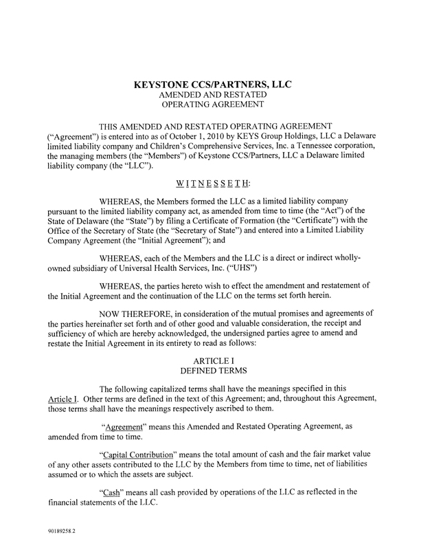Keystone / CCS Partners LLC Amended and Restated Operating Agreement