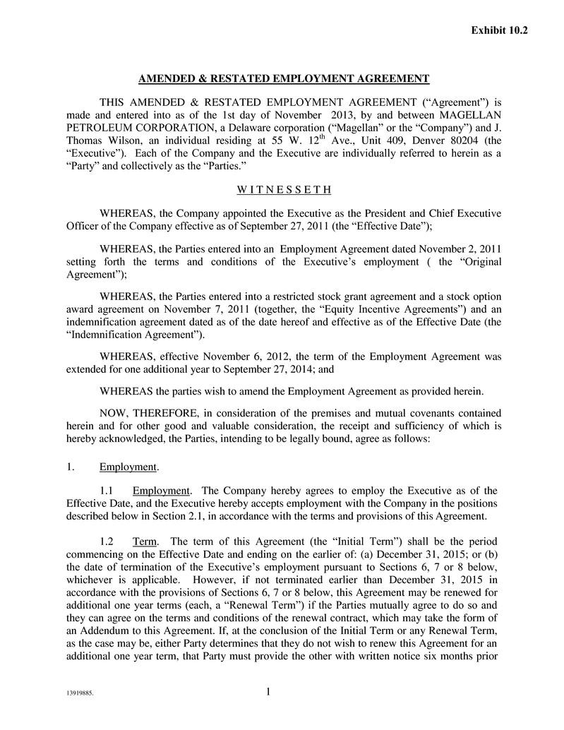 Employment Agreement Indemnification – Individual Employment Agreement