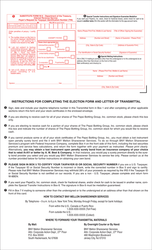 Form of Election Form and Letter of Transmittal and Instructions