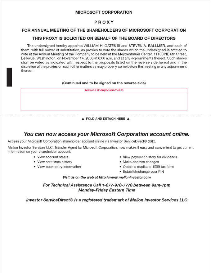 Definitive Proxy Statement - microsoft articles of incorporation