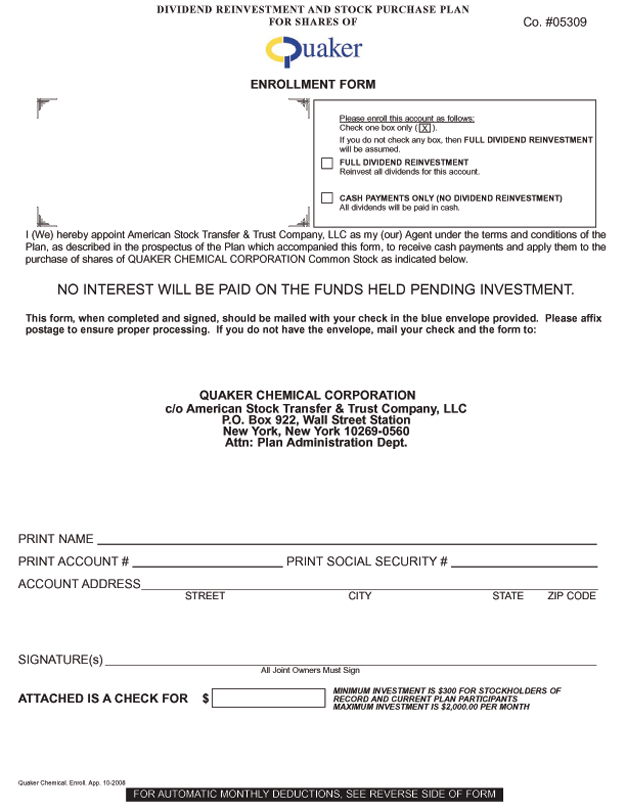 Enrollment form for the Dividend Reinvestment and Stock Purchase Plan