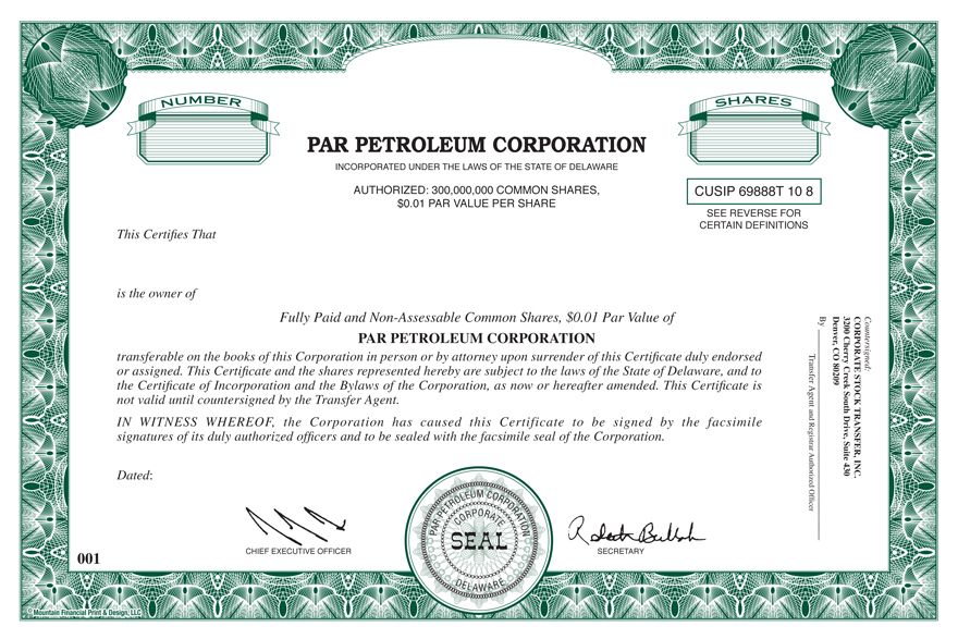 Form of the Company\u0027s Common Stock Certificate - Company Share Certificates