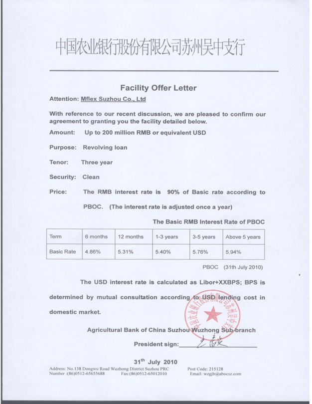 Facility Offer Letter