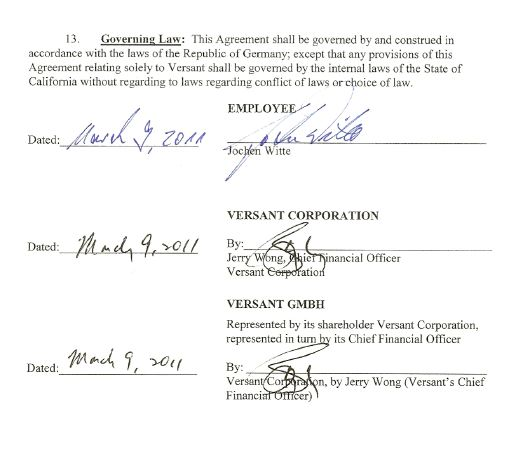 JOINT TRANSITION AND SEPARATION AGREEMENT Between Versant