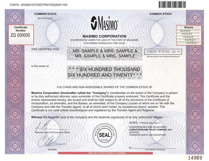 Form of Common Stock Certificate