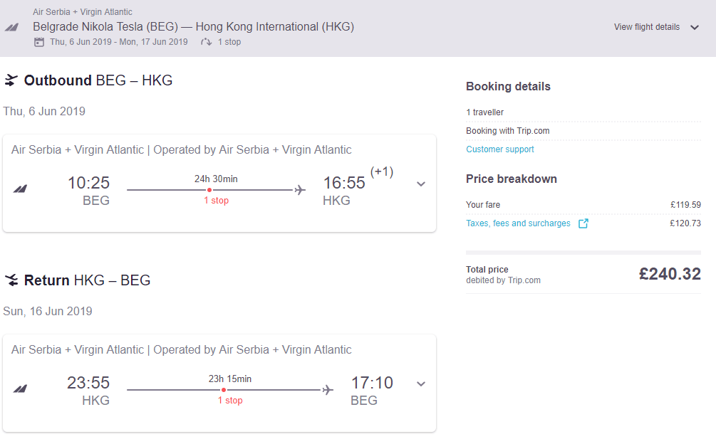 Hot Belgrade Serbia To Hong Kong For Only Eur267 Roundtrip