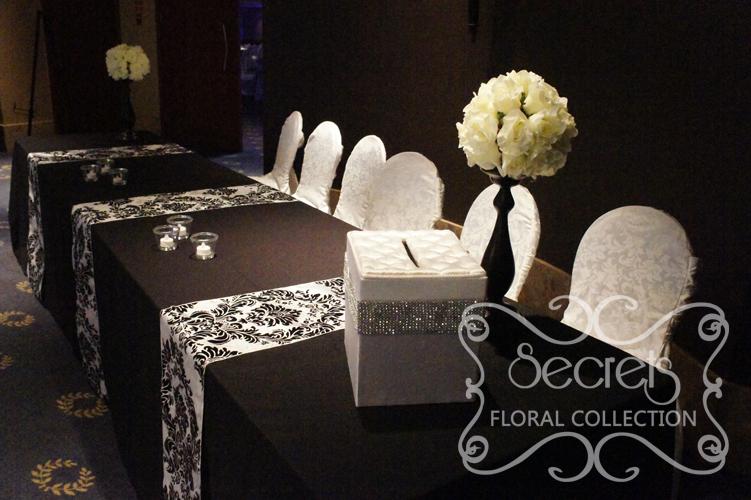 A Black And White Damask Wedding Reception Decoration