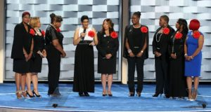 The Mothers of the Movement speak out against police violence at the Democratic National Convention, 2016. Photo by Paul Morigi/WireImage