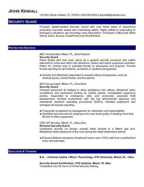 Security Officer Resume - Security Guards Companies - security guards resume