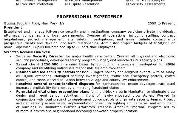 Resumes for Security Jobs - Security Guards Companies