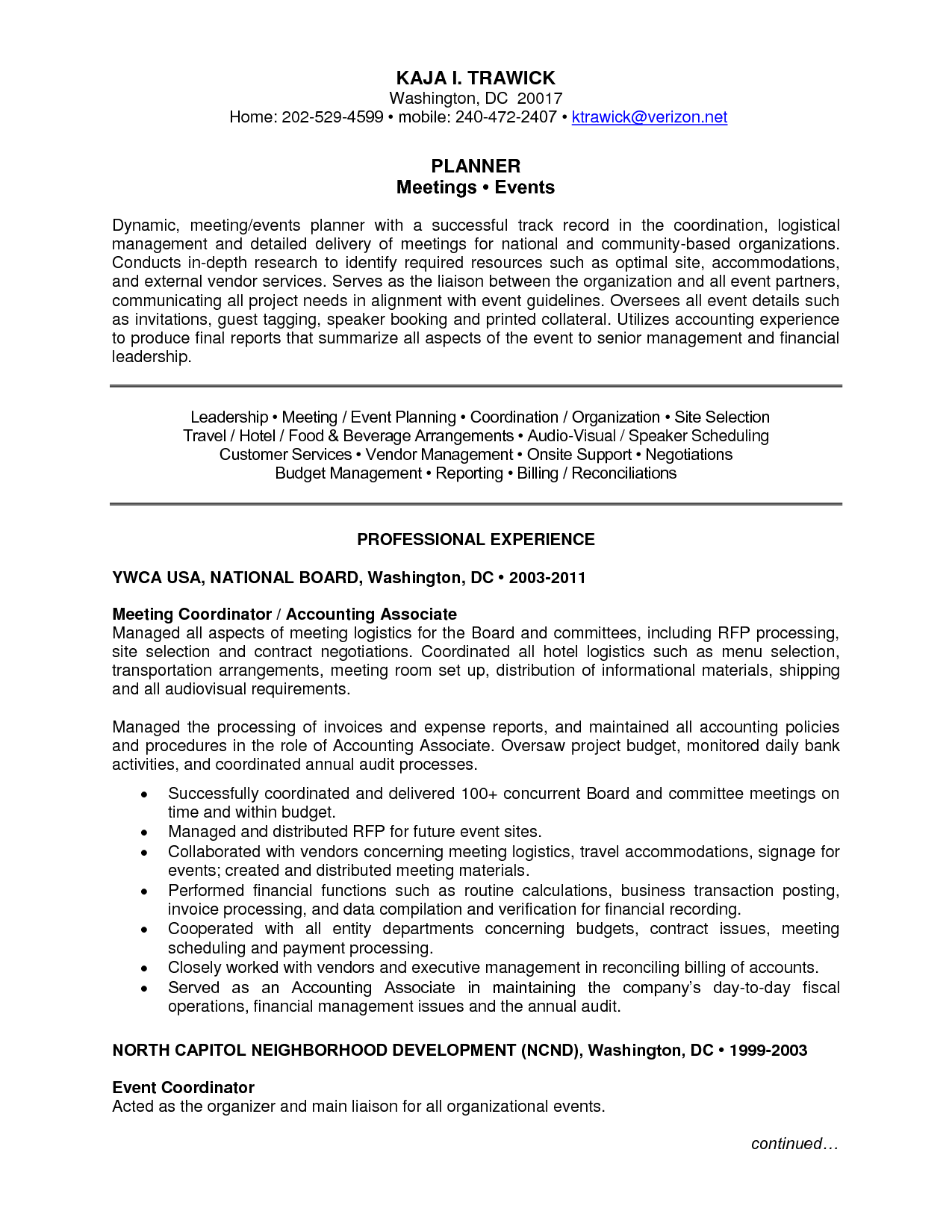 events manager cv visualcv - Event Manager Resume