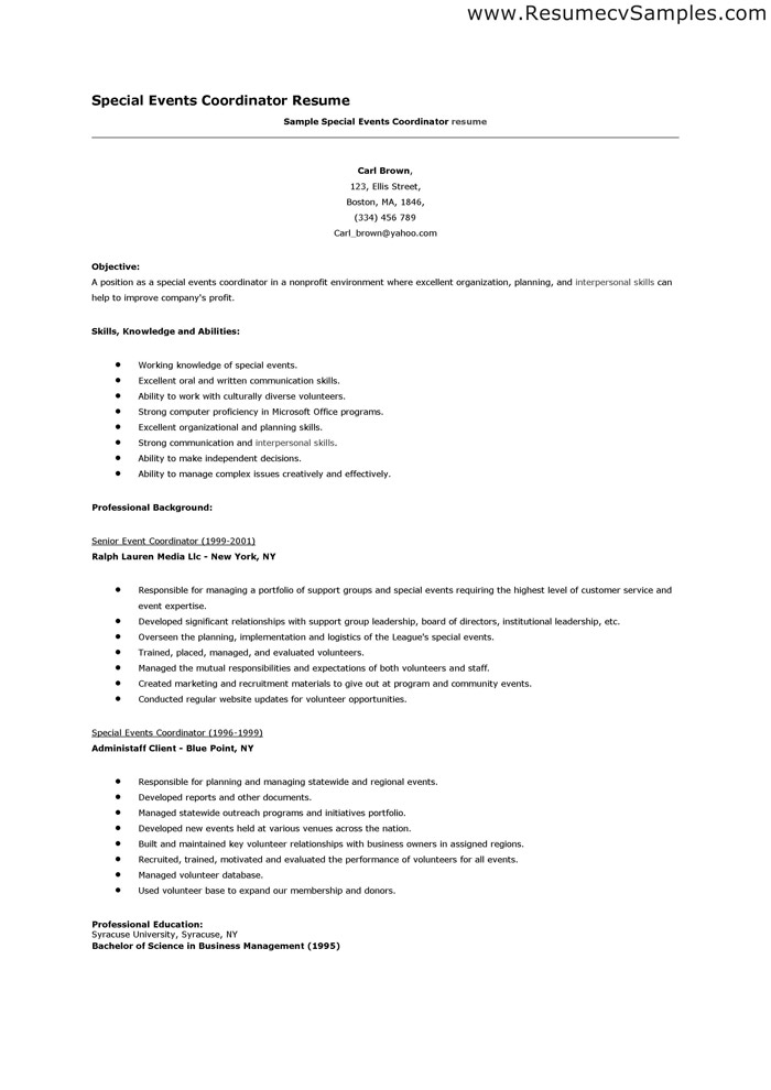 special events coordinator cover letter
