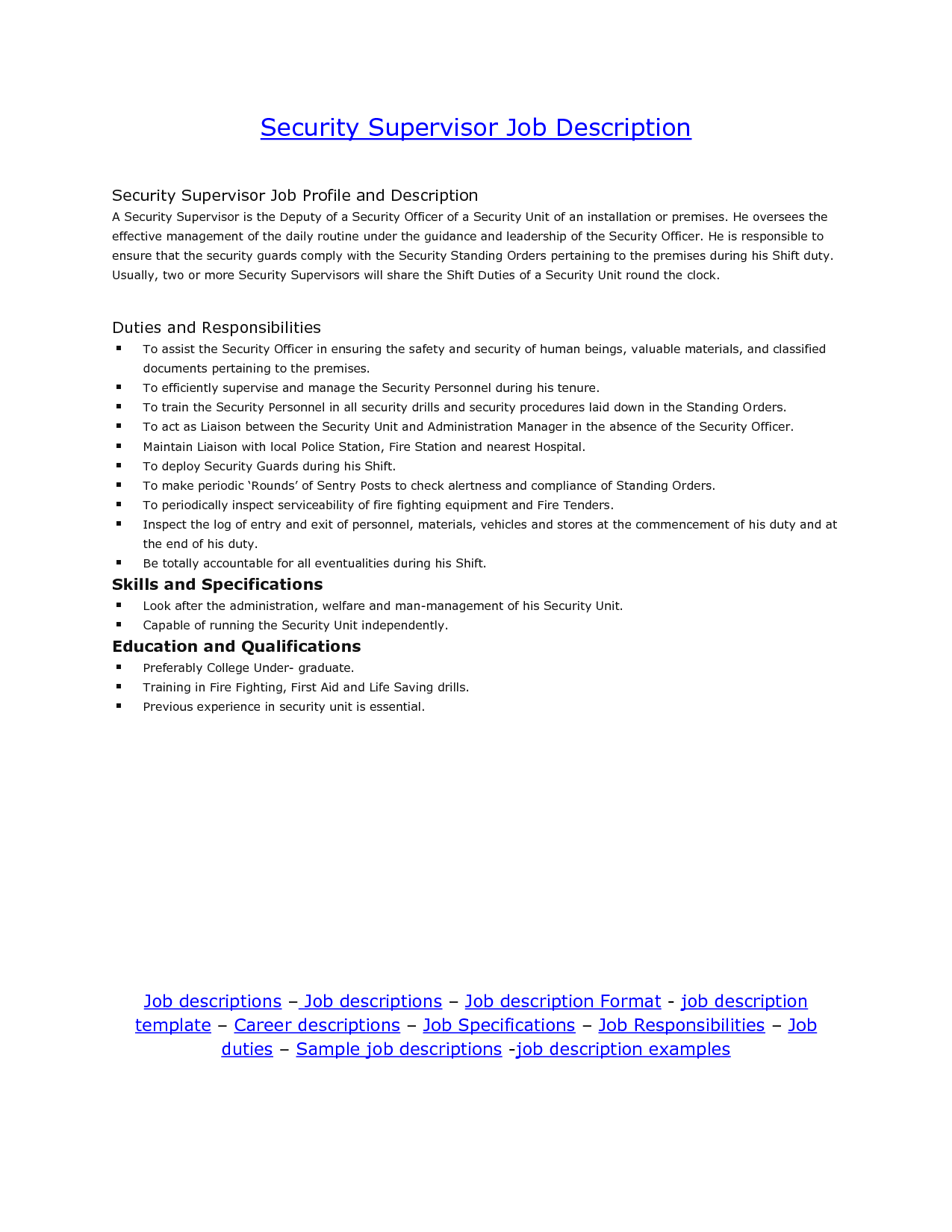 job description for security supervisor tk job description for security supervisor