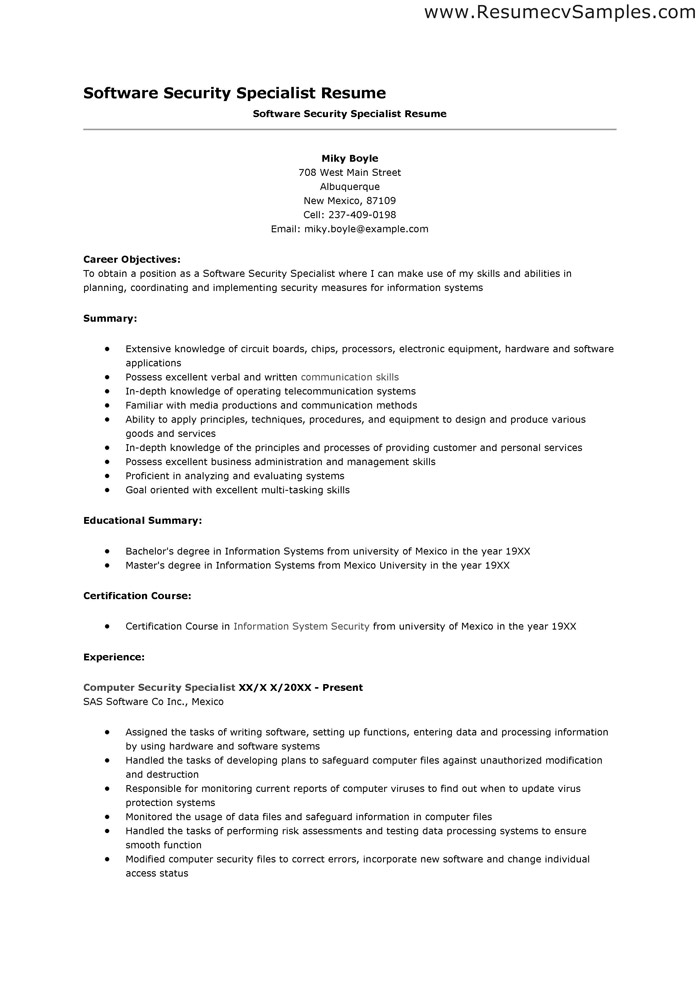 Security Resumes Security Guard Resume Example Security Officer - computer systems security officer sample resume