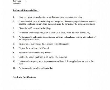 security guard descriptions - Goalgoodwinmetals