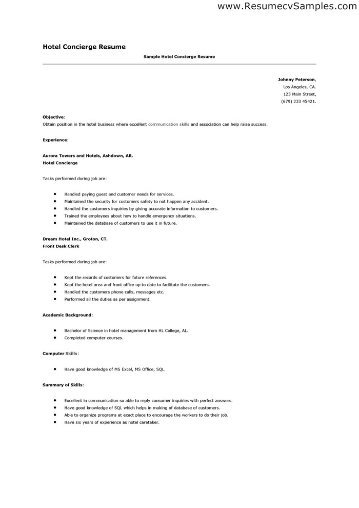 resume for concierge