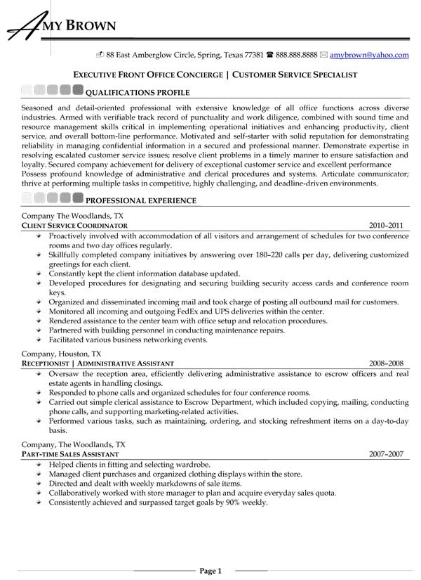 concierge job description resume sample