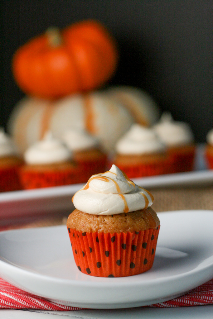 Brown Butter Pumpkin Cupcakes with Salted Caramel Frosting   See ...