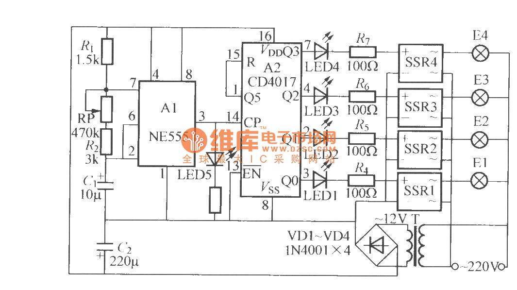 fourway flashing light string circuit 4 cs9801 ledand