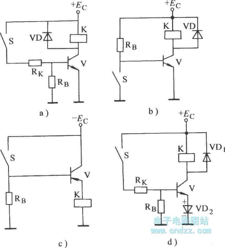 transistor electronic relay for controlling base controlcircuit