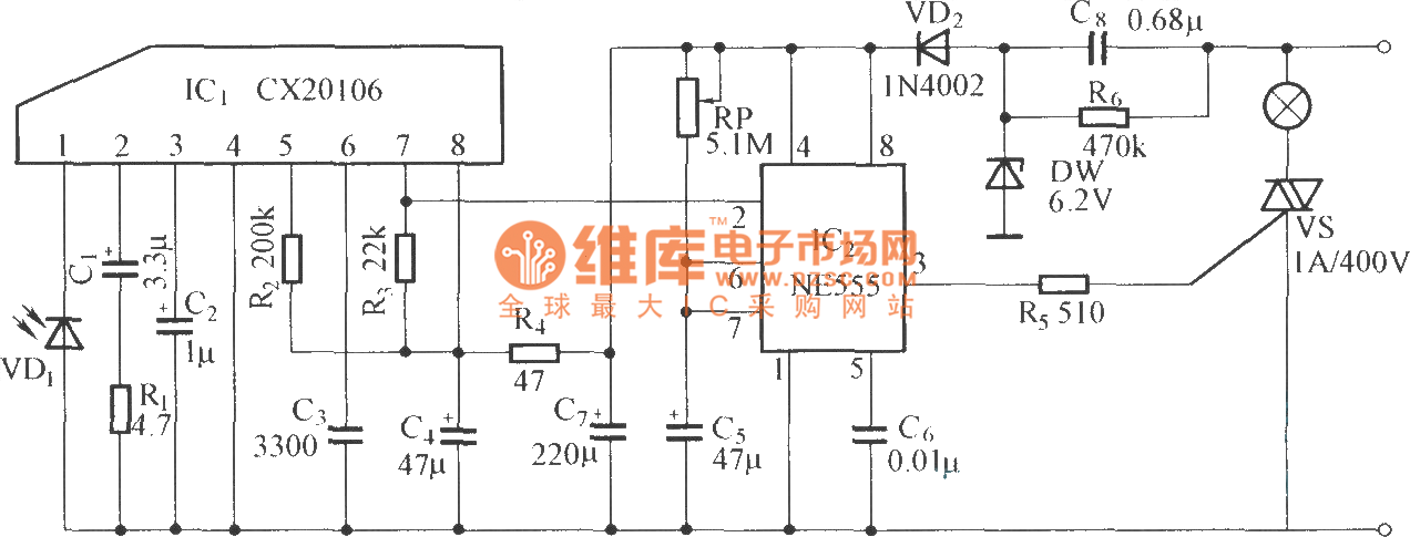 the circuit consists of infrared receiver oneshot delay circuit and