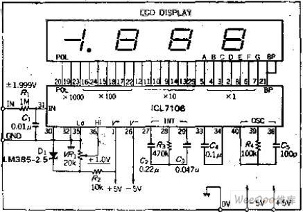 Low-power liquid crystal display 3 1/2 A-D converter circuit - A