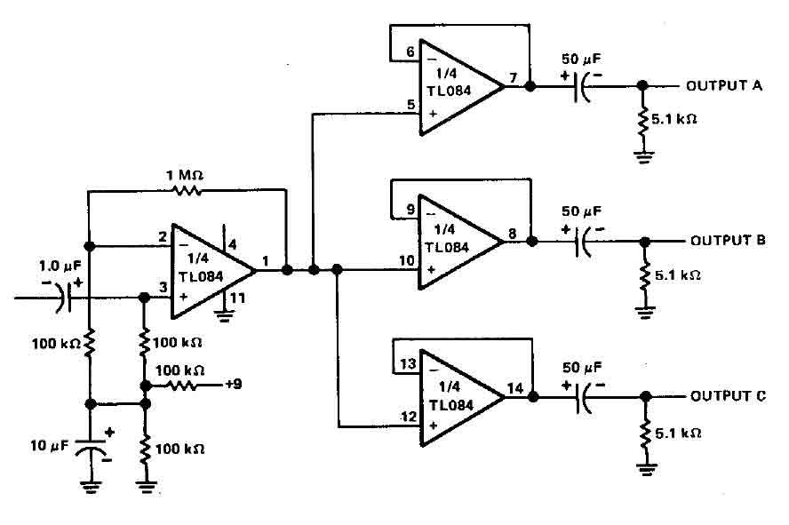 three channel audio splitter