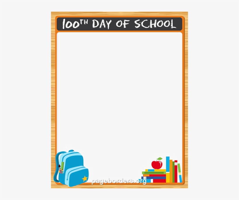 School Border Png Transparent Image - 100 Days Of School Border PNG
