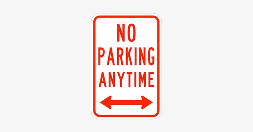 No Parking Anytime Double Arrow - Printable No Parking Signs PNG