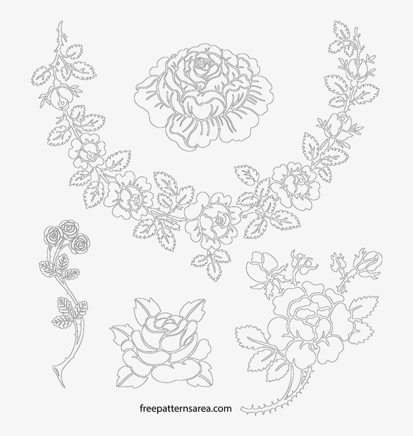 Printable Rose Stencil Outline Template - Stencil PNG Image