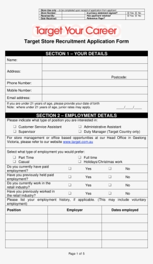 Target Store Job Application Form Main Image - Target Online - Target Application Form