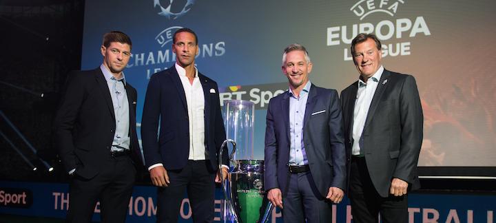 L-R Steven Gerrard, Rio Ferdinand, Gary Lineker, Glenn Hoddle - bT Sport Europe has helped drive subscriptions.