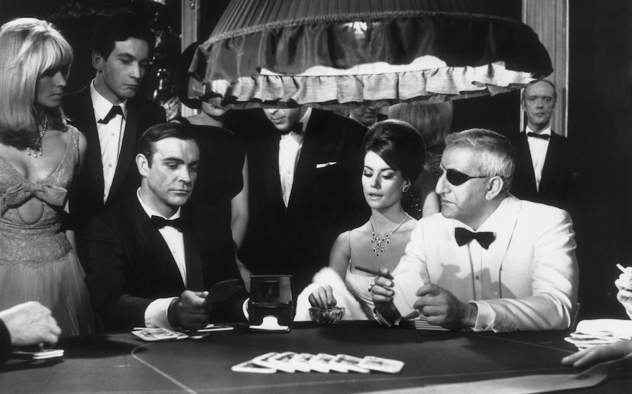 A scene from the James Bond film 'Thunderball' with Sean Connery, Claudine Auger and Adolfo Celi.   (Photo by MacGregor/Getty Images)
