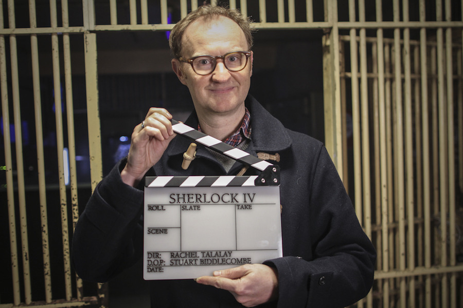Sherlock writer and actor Mark Gatiss marks the start of filming, Image: BBC/Hartswood Films