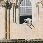 Prankster removing Holy Sepulchre ladder in 1997 (Silencedogood97)