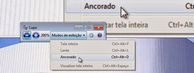 Imagem: Lupa (Ampliador) do Windows 7