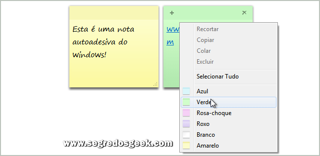 Imagem: Notas Autoadesivas do Windows 7.