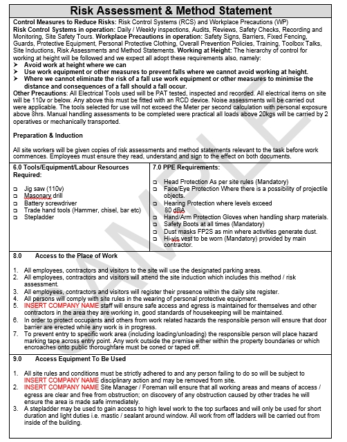 Risk \ Method Statement for Retail Unit Fit Out Seguro - method of statement