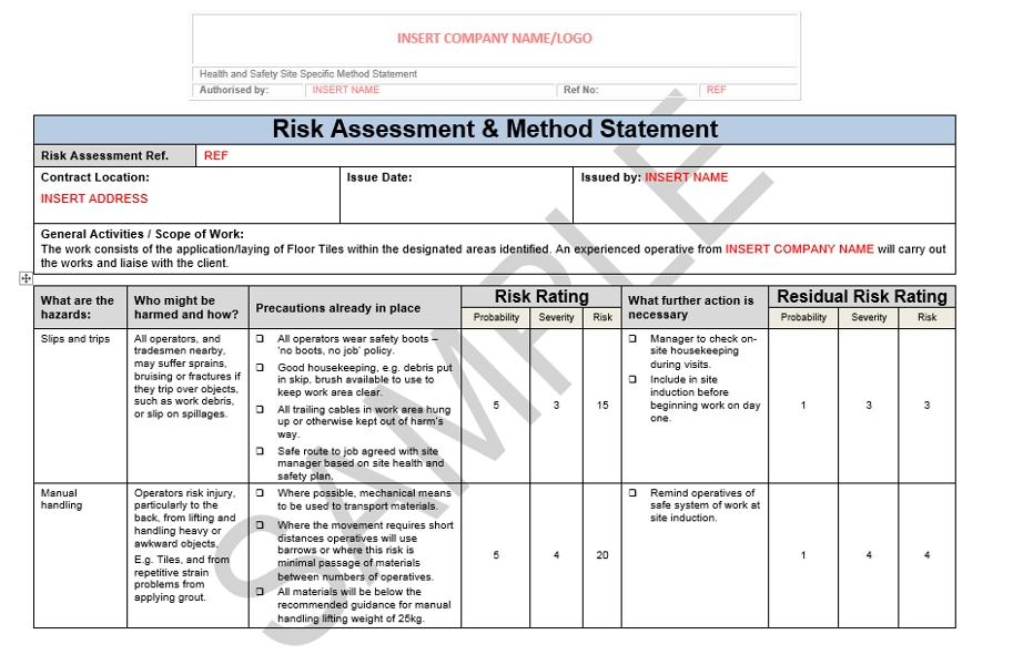 Risk Assessment Amp Method Statement For Floor Tiling Seguro Doc