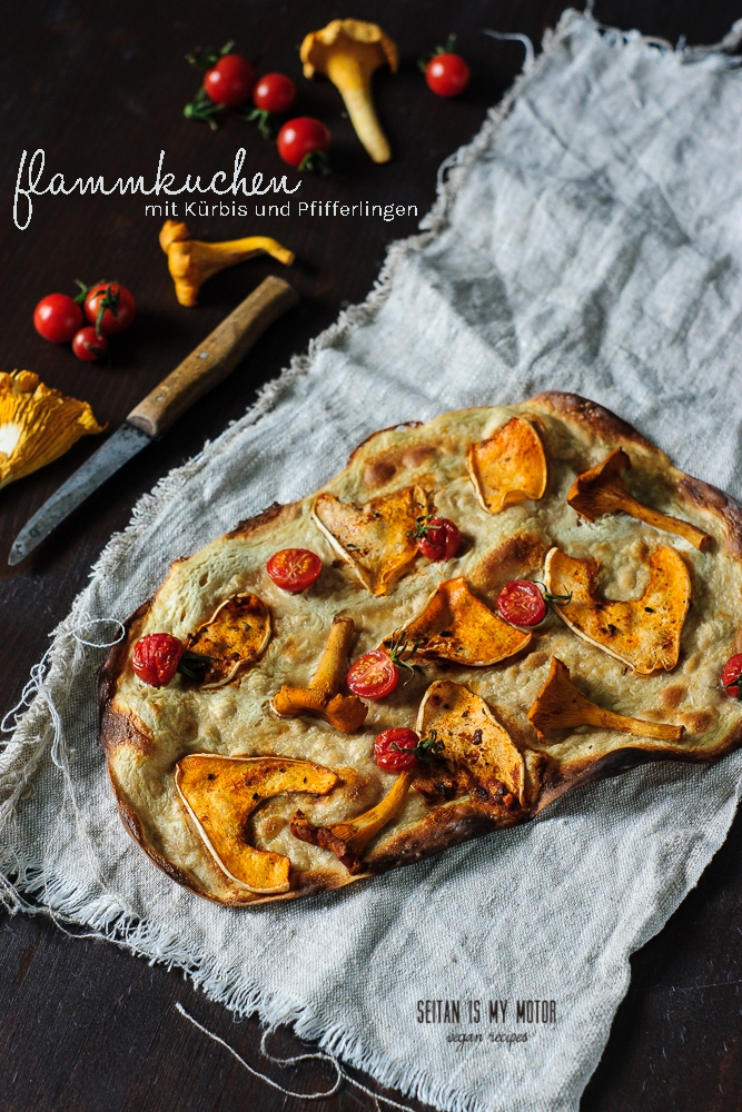 flammkuchen with squash and chanterelles