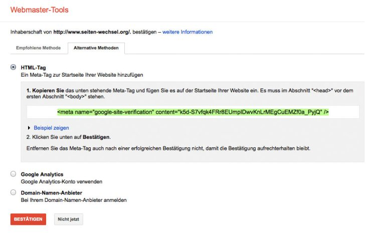 Google Site Verification -Codeschnipsel kopieren